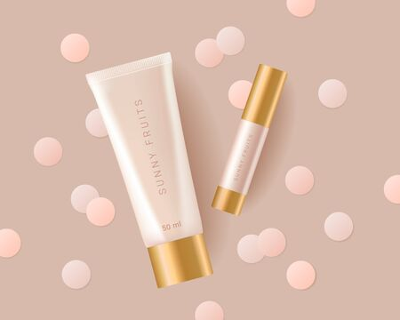 Concealer, foundation cosmetic ads template. Cosmetic bb or cc cream tube with colorful circles of paper. Template of packaging for cosmetic product. Premium ads. Beige bottle isolated on background. Realistic 3d style. Vector illustration.