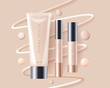 Concealer, foundation cosmetics ads template. Cosmetic bb or cc cream tubes with colorful beige smear swatchs. Template of packaging for cosmetics product. Premium ads. Beige bottles isolated on background. Realistic 3d style. Vector illustration.