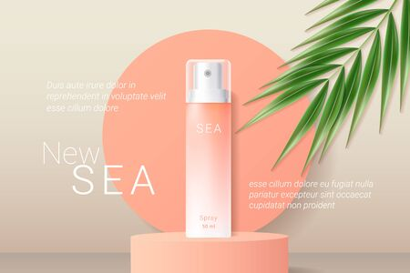 Summer orange sunscreen spray ads template. Peach gradient cosmetics spray on round podium and realistic green tropical palm leaf. Realistic 3d style. Vector illustration.