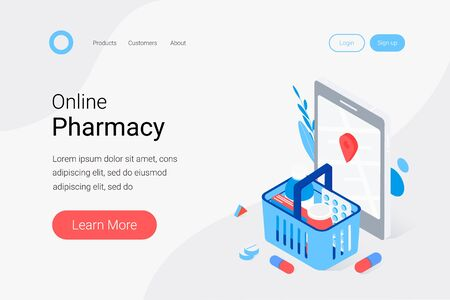 Modern pharmacy and drugstore concept. Supermarket grocery cart with drugs and pills, smartphone with map mark. Trendy flat 3d isometric style. Landing page template. Vector illustration.