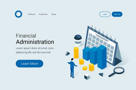 Investment, business planning, risk management, profit, business success isometric concept. The man plans big incomes. Trendy flat 3d isometric style. Landing page template. Vector illustration. Illustration