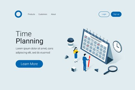 Deadline, time planning isometric concept. Time to work. Time management project plan schedule. Trendy flat 3d isometric style. Landing page template. Vector illustration.