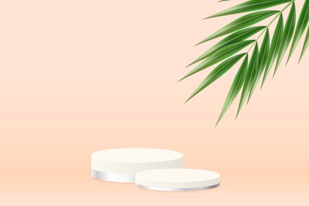 Pink round podium. Pedestal in pastel colored room with realistic green tropical palm leaf. Realistic 3d style. Vector illustration.