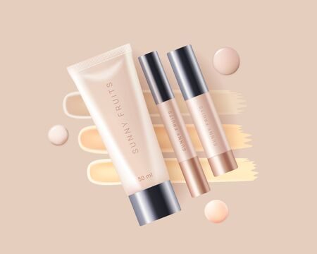 Concealer, foundation cosmetic ads template. Cosmetic bb or cc cream tube with colorful beige smear swatch. Template of packaging for cosmetic product. Premium ads. Beige bottle isolated on background. Realistic 3d style. Vector illustration.
