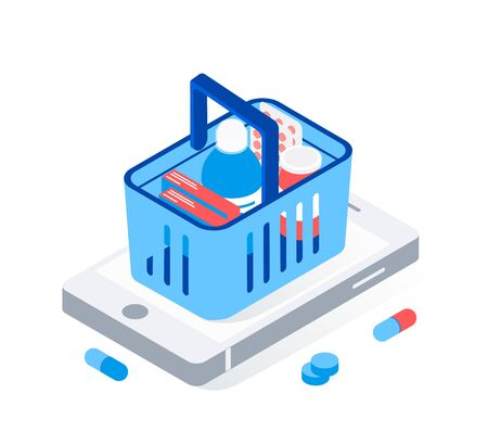 Modern pharmacy and drugstore concept. Supermarket grocery cart with drugs and pills on big smartphone. Trendy flat 3d isometric style. Vector illustration. Illustration