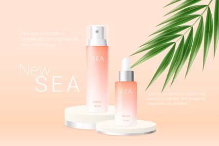 Summer orange spray and serum bottles ads template. Peach gradient cosmetics spray and essence on round podiums and realistic green tropical palm leaf. Realistic 3d style. Vector illustration. Illustration