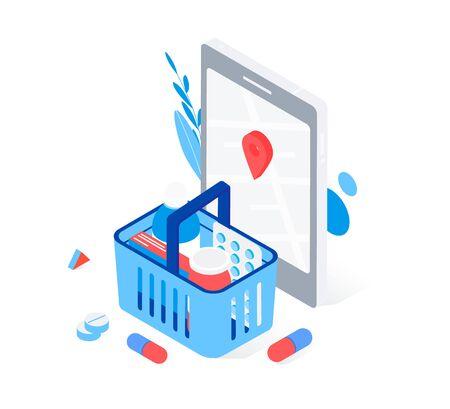 Modern pharmacy and drugstore concept. Supermarket grocery cart with drugs and pills, smartphone with map mark. Trendy flat 3d isometric style. Vector illustration.