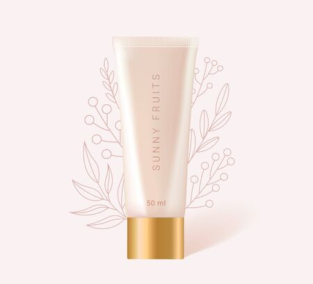 3D realistic container for foundation or bb and cc cream. Mock-up of beige plastic tube with linear leaves and flowers. Beige bottle isolated on background. Realistic 3d style. Vector illustration.