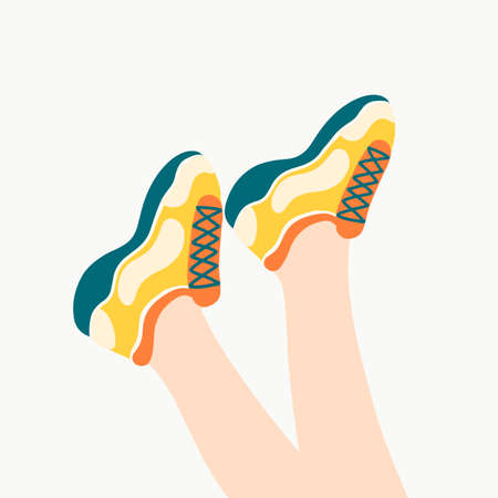 Female legs in the sneakers. Cool bright sport footwear. Stylish platform shoes. Hand drawn colored trendy flat design. Vector illustration. Ilustração