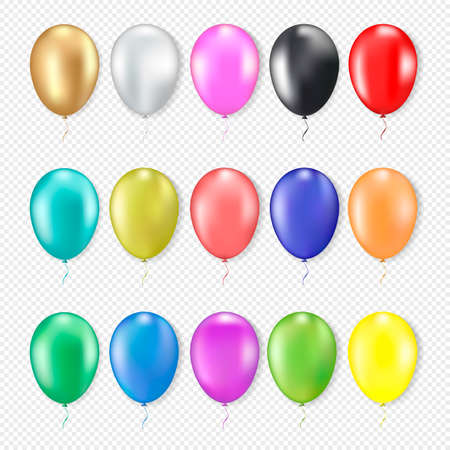 3d realistic colorful balloons set. Blue, red, yellow, black, gold, pink, green. Isolated on white background. Vector illustration