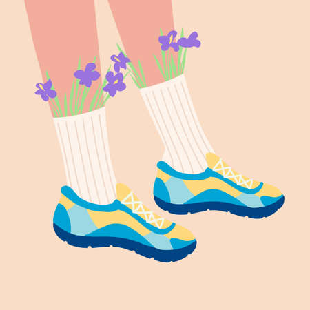 Female legs in the sneakers. Cool bright sport footwear. High socks and flowers. Hand drawn colored trendy flat design. Vector illustration.