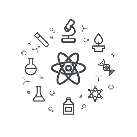 duo: Science line icons. Chemical icons. Circle background. Minimal icons of molecule, tube, flask, and other chemical elements. illustration.