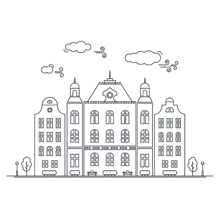 townhouses: Line little town. Linear cityscape with old townhouses, small town street with building facades line.  graphical lineart hipster illustration. Old Amsterdam. Illustration