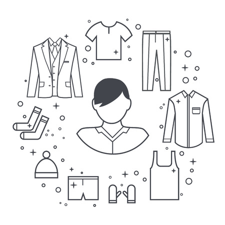 slip homme: ligne de vêtements Man ensemble de veste, t-shirt, pantalon, chapeau, chaussettes, sous-vêtements. Illustration ligne.