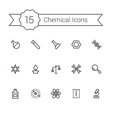 duo tone: Science line icon set. Chemical icons of molecule, tube, flask, and other chemical elements.