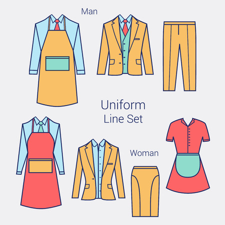 formal wear: The Outfits for the Professional Business Women and Men.  Formal wear for women and men. Uniform: apron, jacket, pants, skirt, maid clothes. Flat illustration.