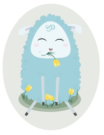 Happy cute sheep chewing grass and flowers. 일러스트
