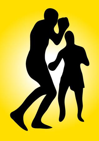 stamina: Vector boxers on yellow background. Illustration