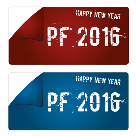 pf: Red and blue trendy Pf 2016 stickers. Illustration