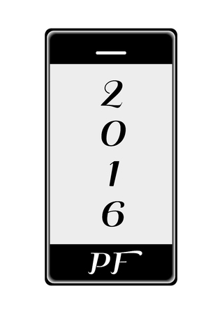 Vector mobile phone, new year wishes, french Pour Feliciter.