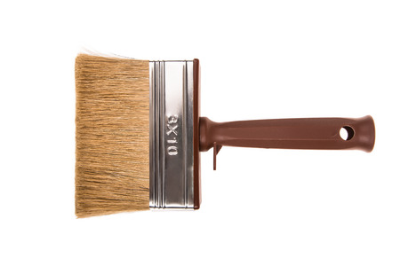 bristles: A paint brush with natural bristles with plastic handle isolated on white background.