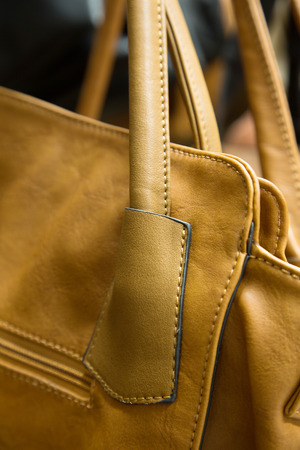 Detail van elegante, mooie, close-up lederen tas. Stockfoto