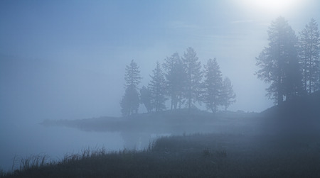 Morning mist over the lake. Foggy morning. Smooth surface of water. photo