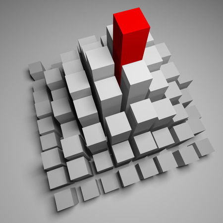 Competition. Leadership concept. Leader. 3D render. Red square among many gray squares. photo