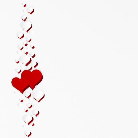 Kaart voor Valentijnsdag. Twee harten op een witte achtergrond en een heleboel kleine harten