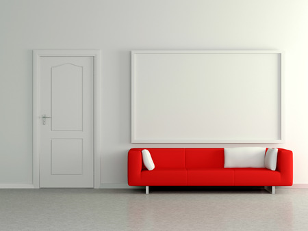 Modern home interior with red sofa near the wall and painting. 3D. photo