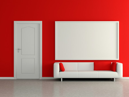 Modern home interior with sofa near the red wall and painting. 3D. photo
