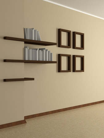 modern home interior with beige wall four paintings and book