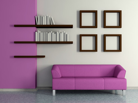 Modern home interior with violet magenta sofa near the wall and four paintings, book shelves. 3D. photo