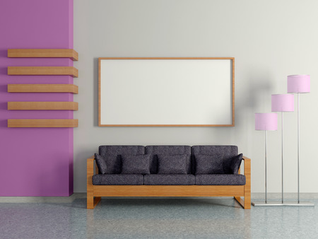 Modern home interior with sofa near the violet magenta wall, floor lamp and painting. 3D. photo