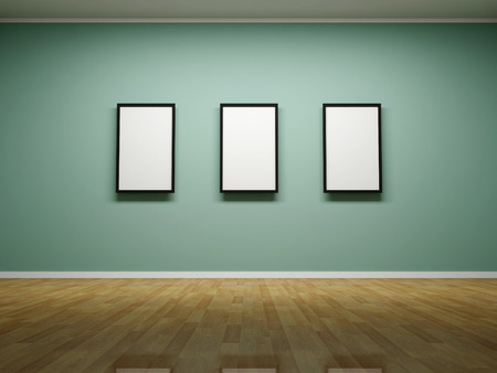 art museum: Abstract background. 3D render. Picture frames or photos on the wall of the room.
