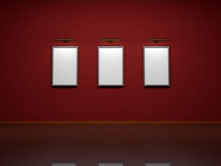 Abstract background. 3D render. Picture frames or photos on the wall of the room. photo