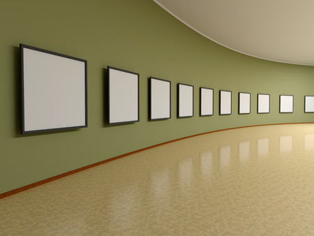 exposition: Abstract background. 3D render. Picture frames or photos on the wall of the exhibition hall.