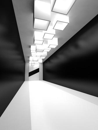 Hal, gang met zwarte spiegelwanden en een podium. 3D render interieur.