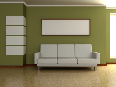 Modern home interior 3d. Sofa near the wall with the painting and window. photo