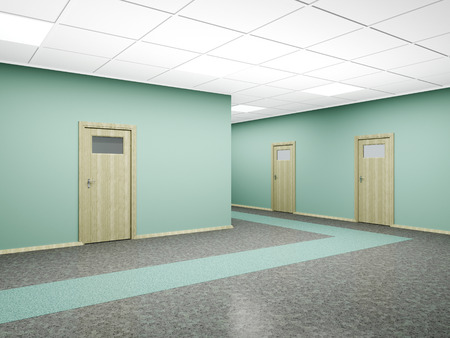 Corridor in modern office interior with several doors and walls of green. 3D render.