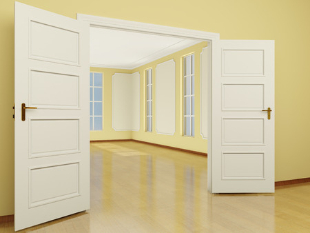 A wide open door entrance to the living room. Brightly lit room in classic style with large windows. 3D render. photo