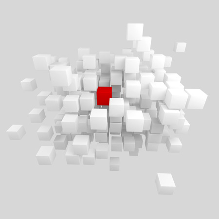 Leadership concept. Personnel search. Uniqueness. 3D render. Red square among many gray squares. photo