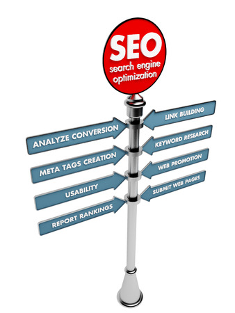 SEO concept, Internet technology. 3D signposts on a white background. photo