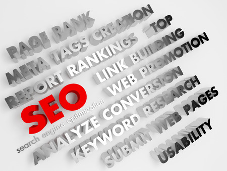 SEO concept, Internet technology. 3D voluminous words on a white background. photo