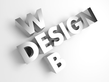 voluminous: Web design. Concept abstract background with 3D voluminous words. Stock Photo