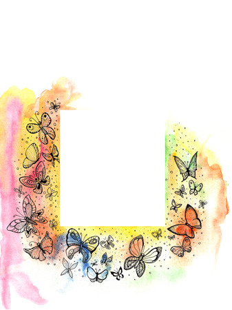 Frame with beautiful butterflies on the edges, watercolor painting, hand-painted. photo