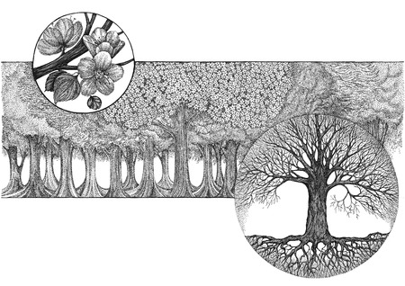 pointillism: Hand drawing, graphic picture on the theme tree flowering, in the style of pointillism.