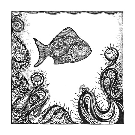 pointillism: Abstract background with handwritten painted fish, underwater world and ornaments in the style of pointillism.