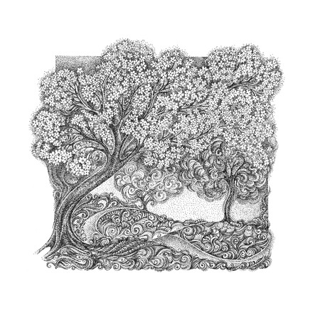 pointillism: The concept of spring and bloom. Blossoming cherry tree, apple tree. In the style of pointillism. Stock Photo