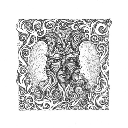 maturity: The concept of youth, maturity, old age. Three faces in one. In the style of pointillism.